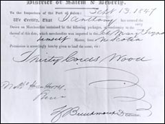 Salem Custom House Receipt, September 13, 1847