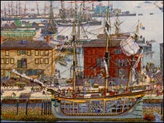 Derby Wharf and Salem Harbor shoreline, painting by Fred Freeman, c. 1803 