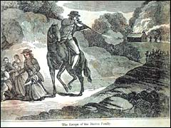 """The Escape of the Duston Family,"" illustration from ""The Duston Family"" by Nathaniel Hawthorne."