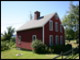 The rebuilt version of the Little Red House at Tanglewood in Lenox, MA